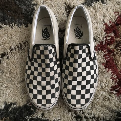 86b5bd0365 Black   white checkered Vans slip-ons. Used condition - no - Depop