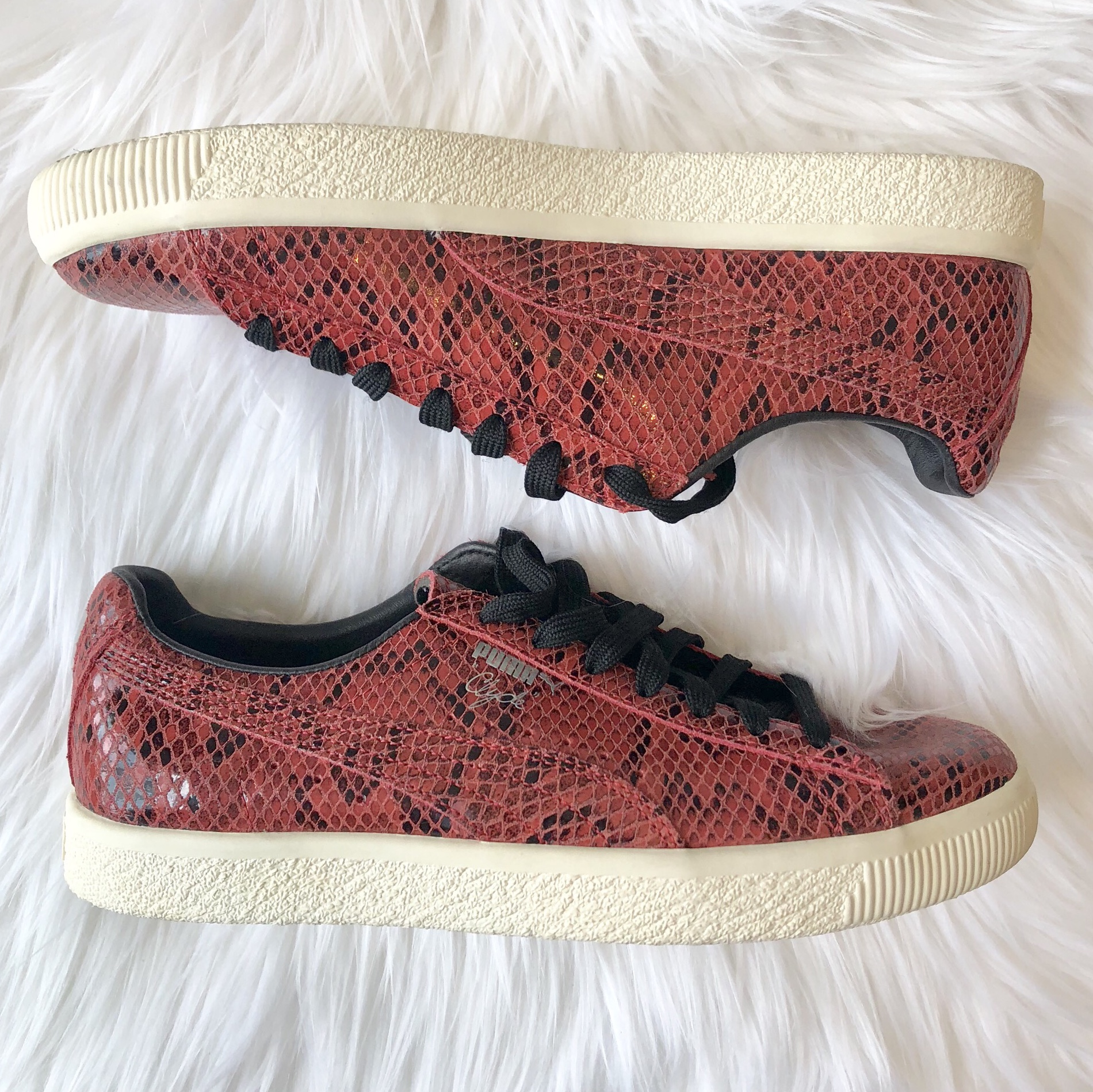 new style 2f092 d18cf Puma Clyde Snakeskin Sneakers Puma Clyde Red... - Depop