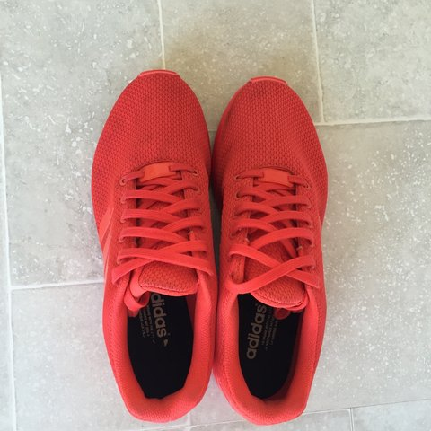 a14f3200e0283 Adidas ZX Flux size 8 MiAdidas custom bright red colour with - Depop