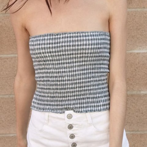 0c62645eae Brandy Melville green and white gingham tube top • perfect • - Depop