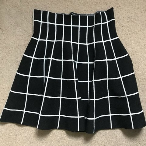 a845eef81d Black and White Box Checked Pleat Skater Skirt. From new not - Depop