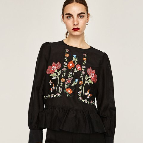 243571ac156a27 ZARA sold out floral embroidered black top. Silk cotton mix. - Depop