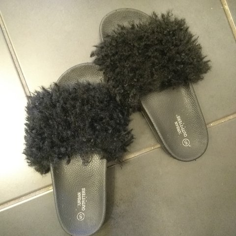 52b746163fb7 Urban outfitters mongolian faux fur fluffy slides good Size - Depop