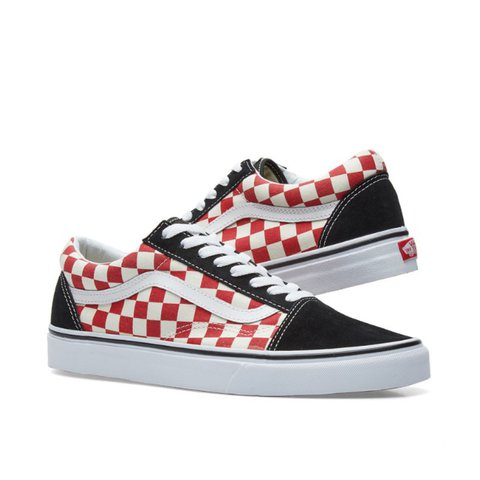 91a81249c8e6ec VANS OLD SKOOL CHECKERBOARD - BLACK WHITE AND RED - ALL - Depop