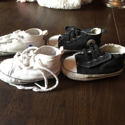 85226f8e73c2db 2 pairs of baby crib shoes size 4 Used general wear and a - Depop
