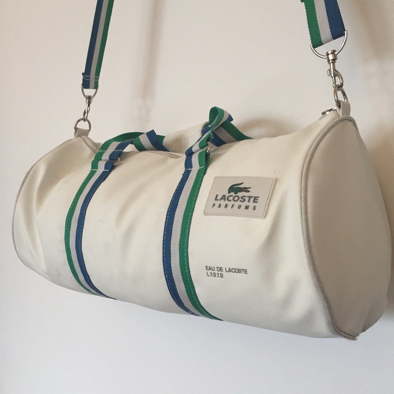 e17c928f5475b Vintage leather Lacoste duffle bag   gym bag