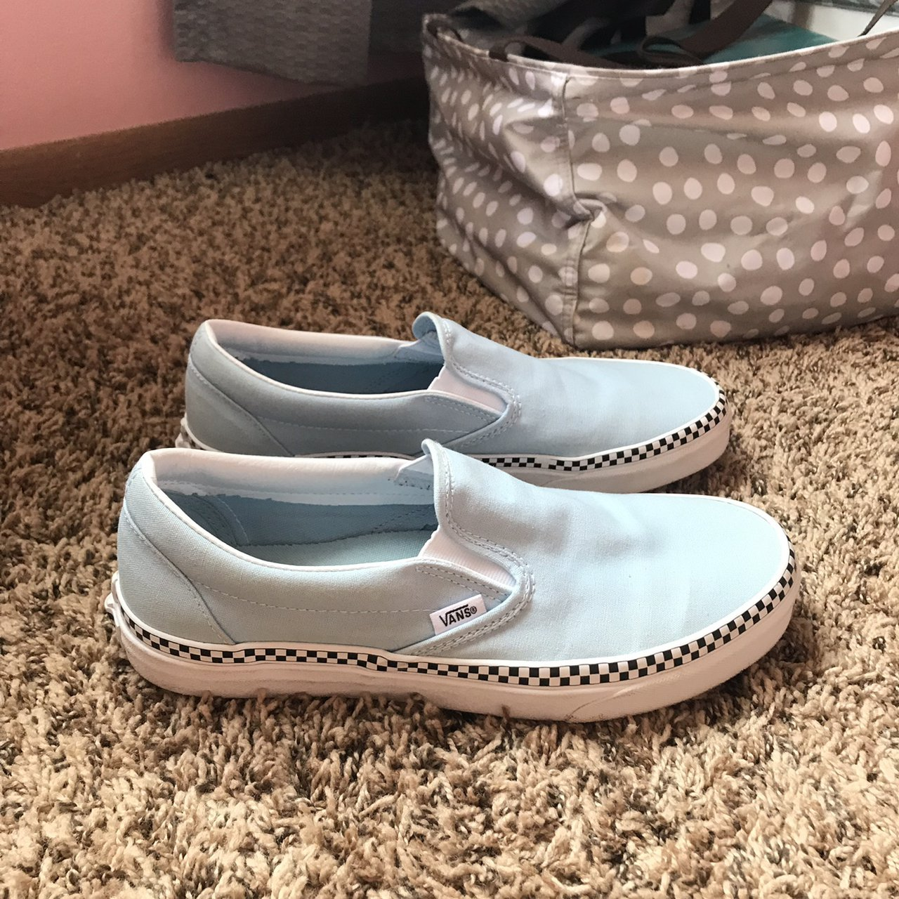 baby blue slip on vans with black and