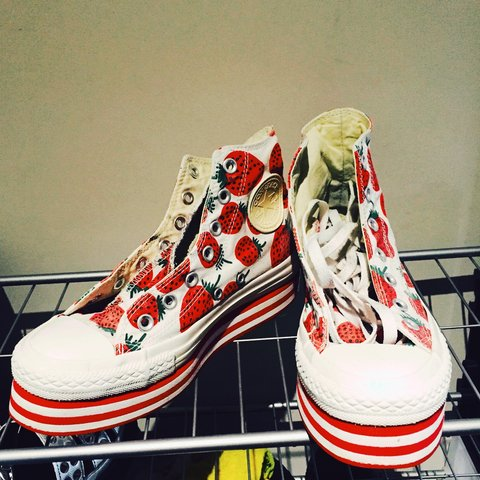 f0b8bda46a06 Converse strawberry print high platform shoes. Very unusual - Depop