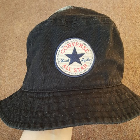 2a1db820ac87 Vintage style Converse bucket hat. Black cotton. In used but - Depop