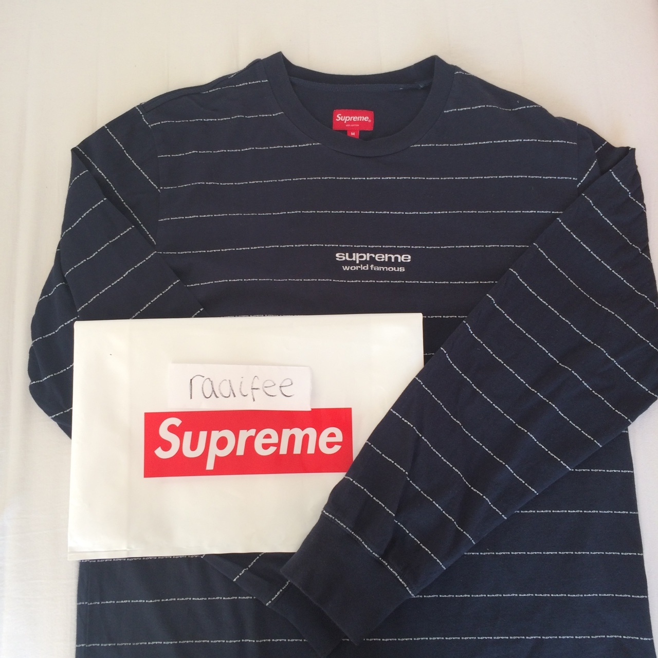 85c29f947b8c raife. Hove, United Kingdom. Supreme world famous 🌏 long sleeve t-shirt  logo striped ...