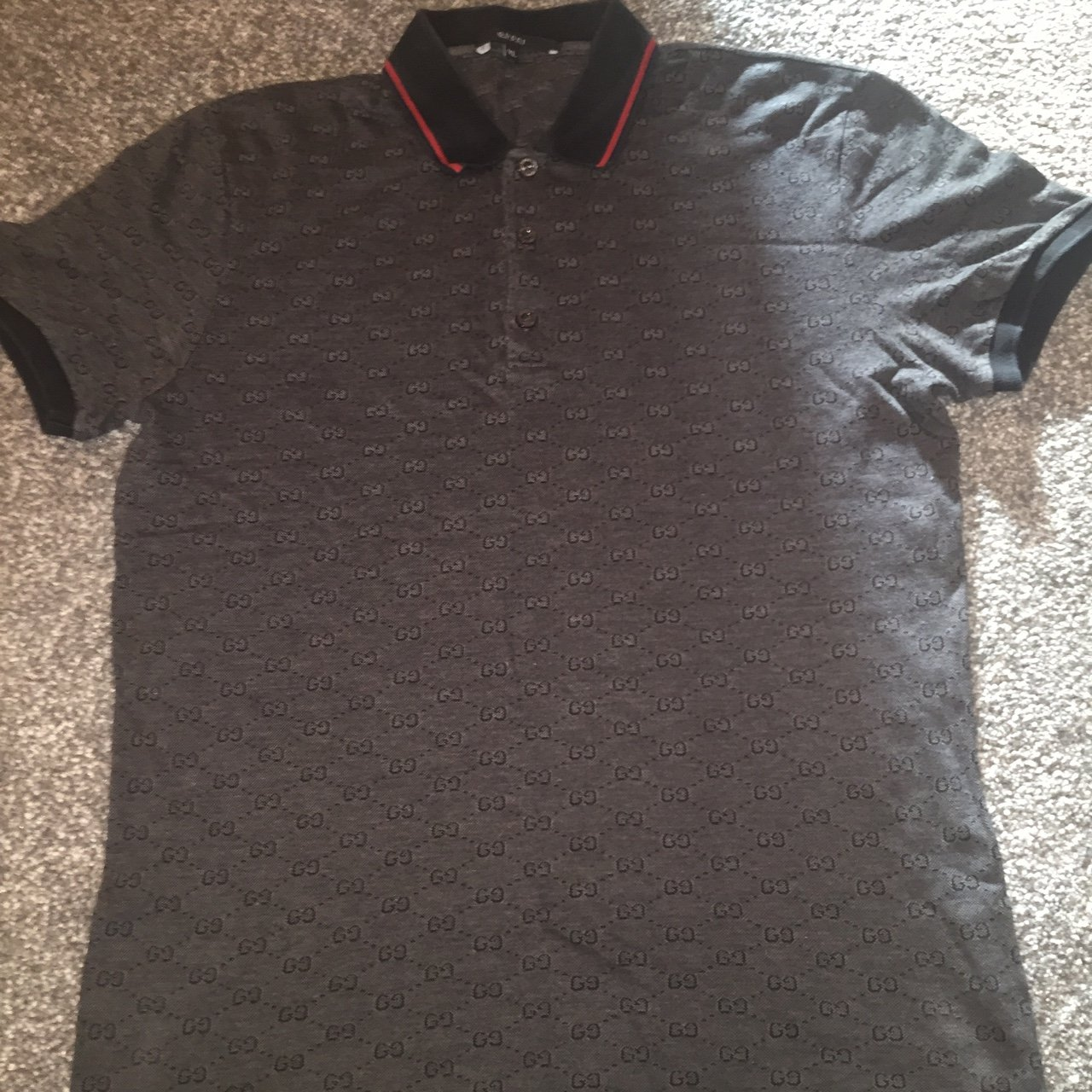b94a5c27d1be Grey and black Gucci polo , 10/10 condition .. XL but would - Depop