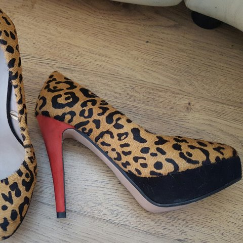 861fcce18a2 Beautiful super high leopard print pony skin shoes with red - Depop