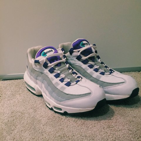 3ff322112d @calliewinch. 2 years ago. Hoddesdon, UK. Genuine Nike Air Max 95 white  court purple wolf grey trainers!