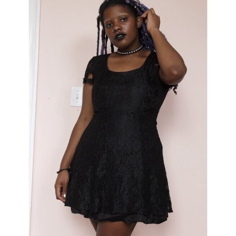 cbe52812be9 90s Black Lace Fit and Flare Short Dress This dress snatched - Depop