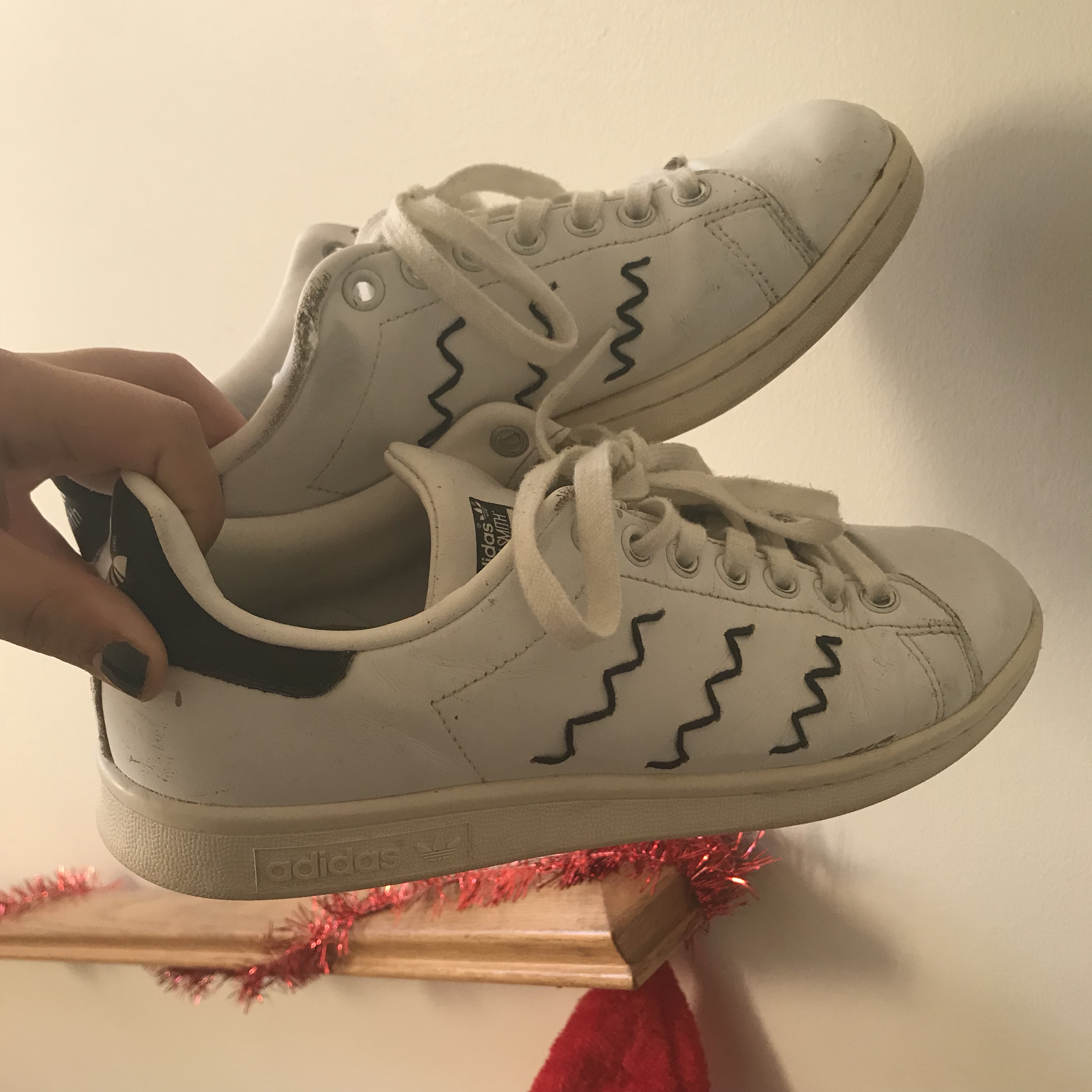 check out edbdd 34cde Stan Smith Squiggly Line Adidas. ♡ black and white... - Depop
