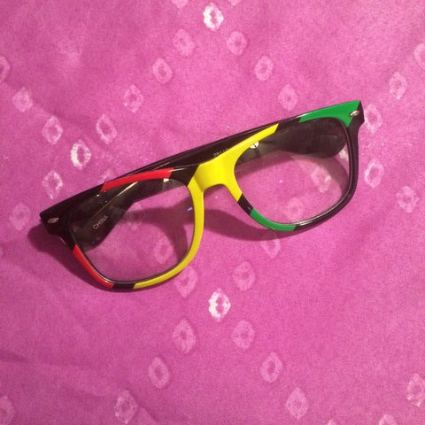 ba85a8a4386 Rasta colored clear frames. Cute stoner glasses. Shipped for - Depop