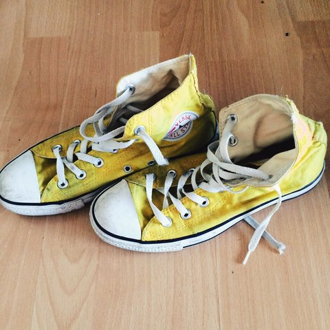 Broken in  amazing bright yellow unisex converse. they are - Depop 9939a1a1f
