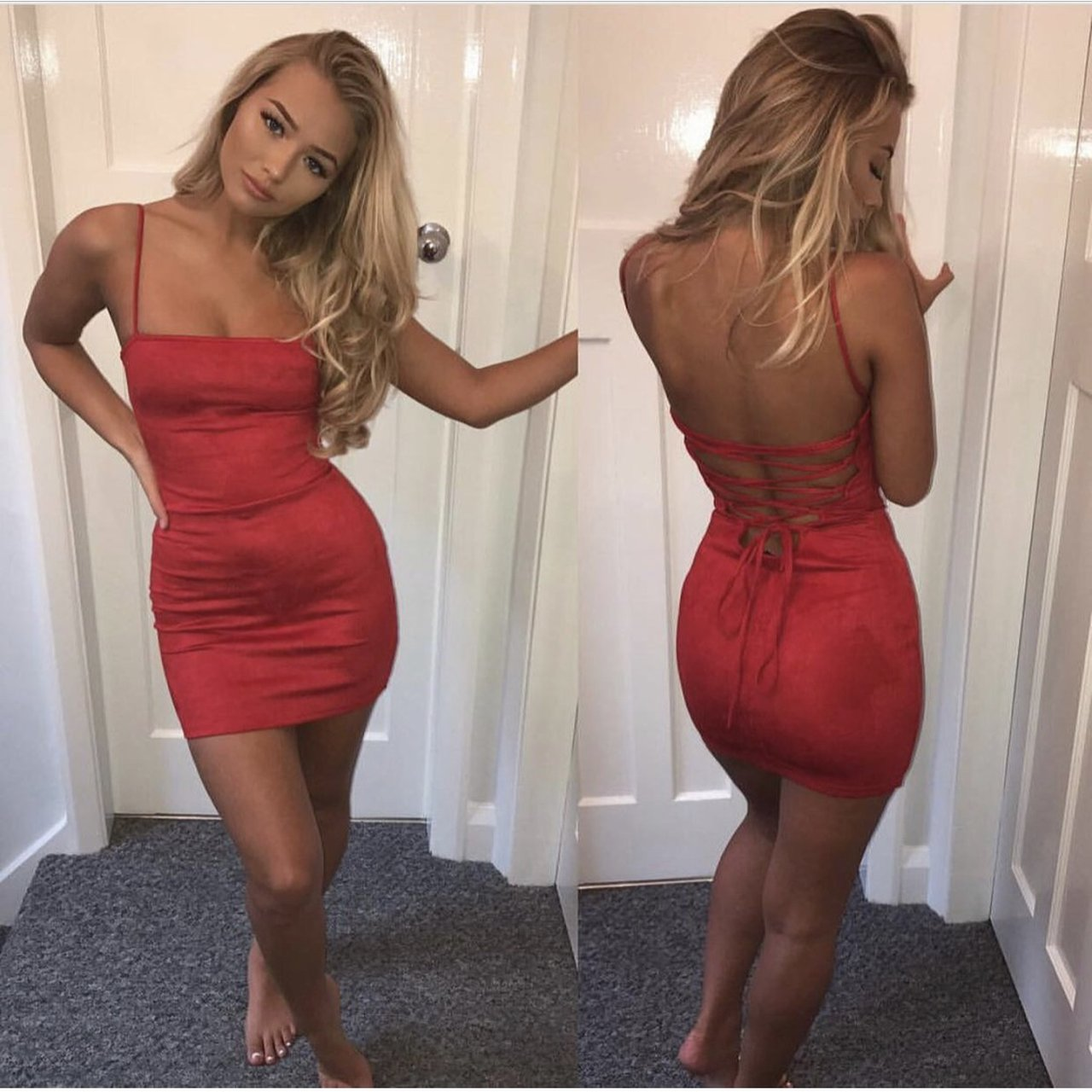 482bfaea Sarah Ashcroft in the style red suede effect cami mini dress - Depop