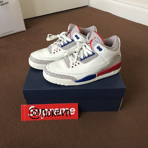 2f1e3175245f Air Jordan III 3 Retro International Flight in White Size to - Depop