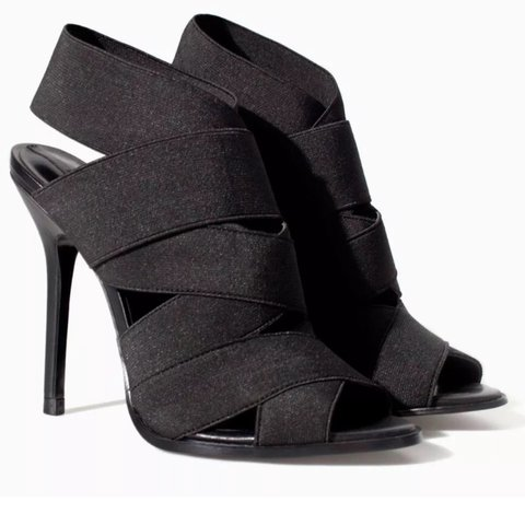 288ef0fe50 @tiamchale88. 2 years ago. Essex, UK. Zara black elastic strappy sandals/  ...