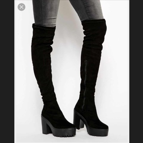 087e66264 ASOS Ka Ching over the knee thigh high, black platform, Paid - Depop
