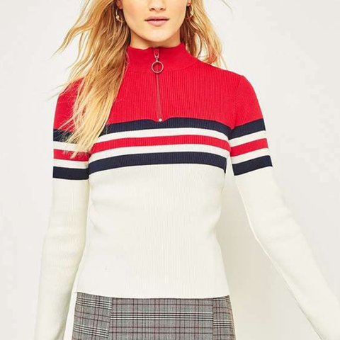 bb6118eeaad21 Urban outfitters red striped half zip jumper - size xs