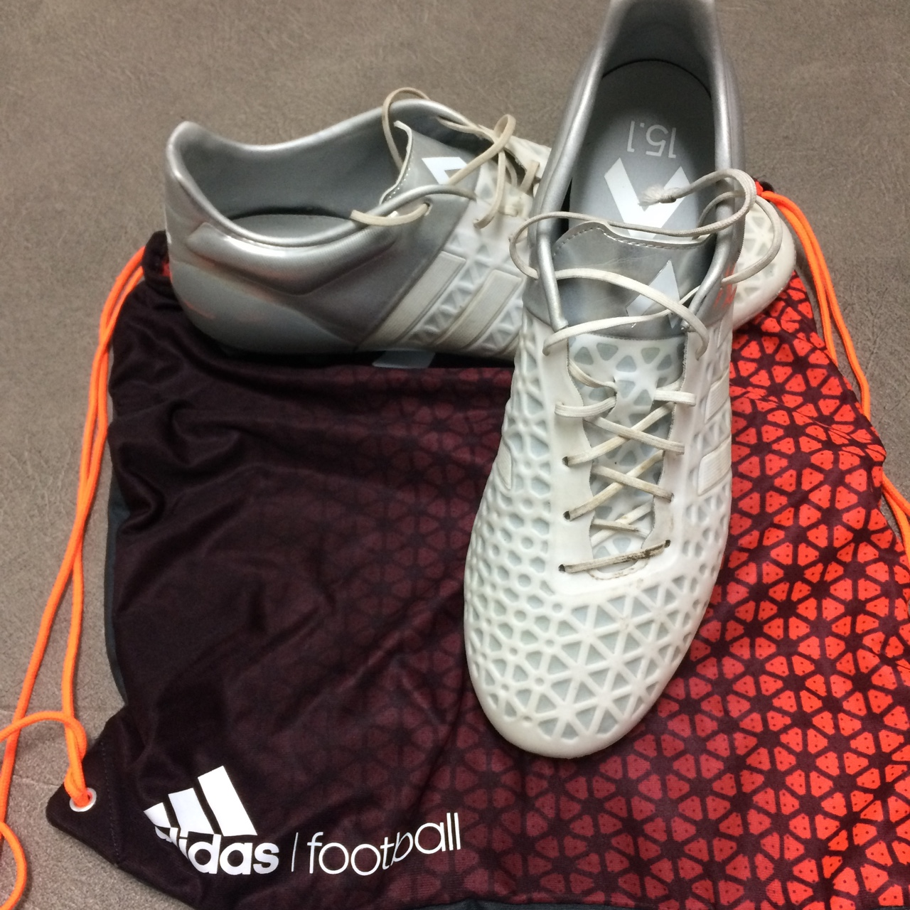 more photos 5d18f 6a717 Adidas Ace 15.1 White and silver football boots!... - Depop