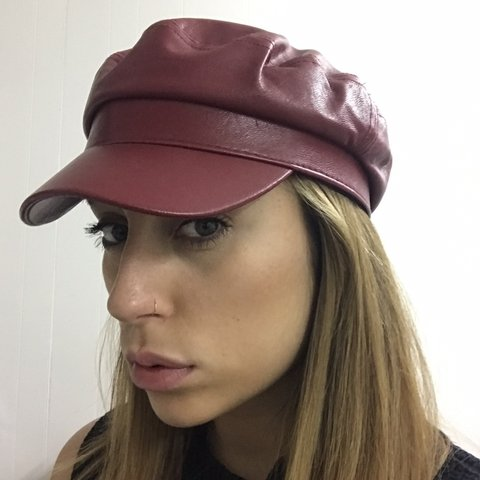 99f0fe3e6df59 ☆ BERSHKA faux leather red baker boy hat Worn couple of - Depop