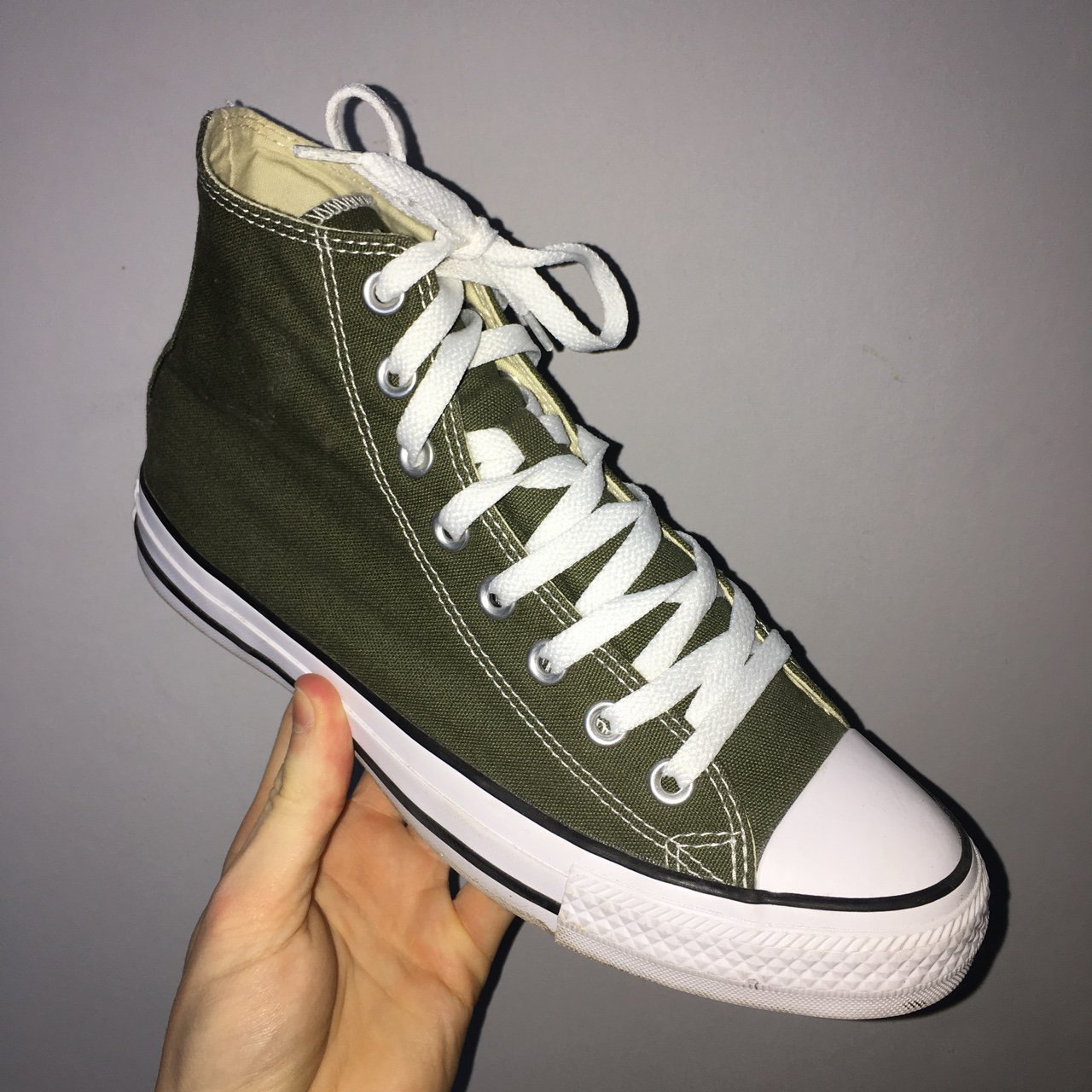 Khaki green converse size 7. Worn once. - Depop 2dded5f28
