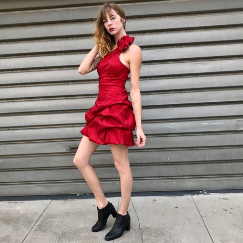 76a2d63146 Incredible vintage 90s Jessica McClintock cherry red dress - Depop