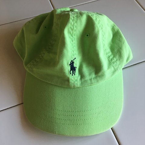 457c78277f Neon lime green polo by Ralph Lauren hat with leather strap - Depop