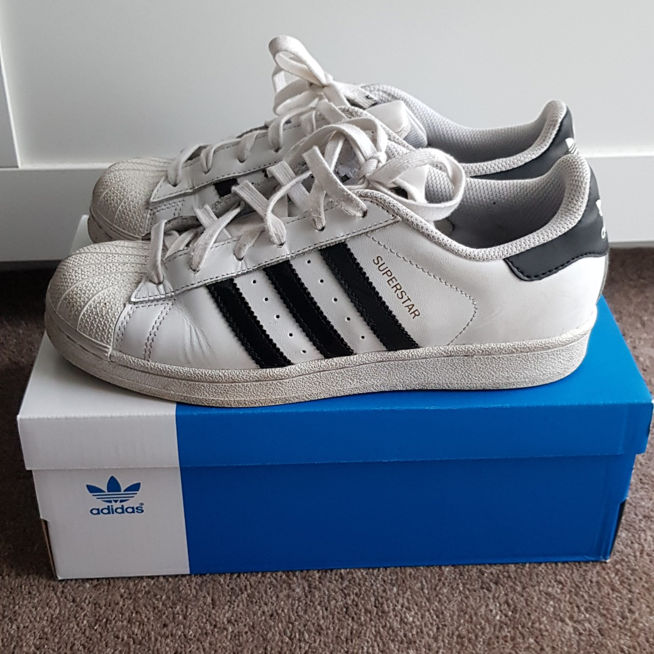 Adidas Superstar. Black and white classic. UK size Depop