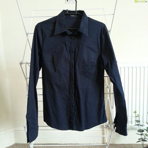88577723241f18 Nicole navy blue shirt! Stretchy fabric, so it can fit sizes - Depop