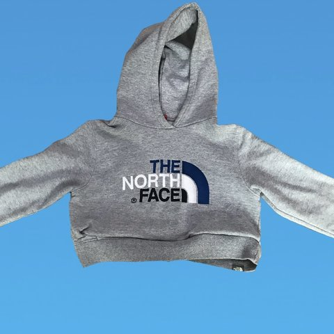 0c13eaac8a7255 Reworked cropped NORTH FACE grey hoodie with white and blue - Depop