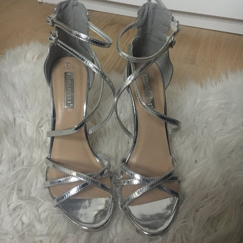 ebfa4503c29 Silver strappy barely there heels. Size 5. Only worn once so - Depop