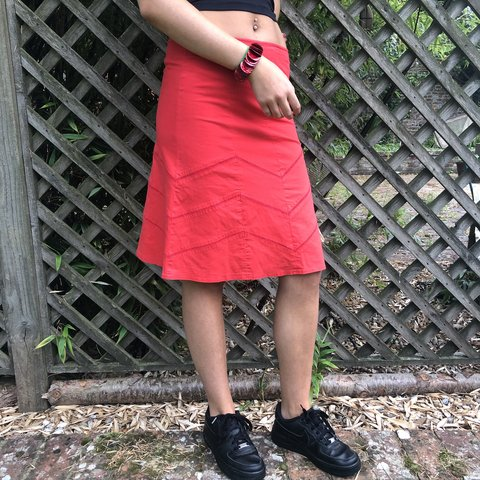 a469506dd0 vintage red midi skirt topshop size 10 shown on 8 postage in - Depop