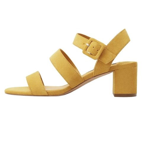 c3262cf26b0d Mango suede yellow strappy block heel. Marked a size 38 and - Depop