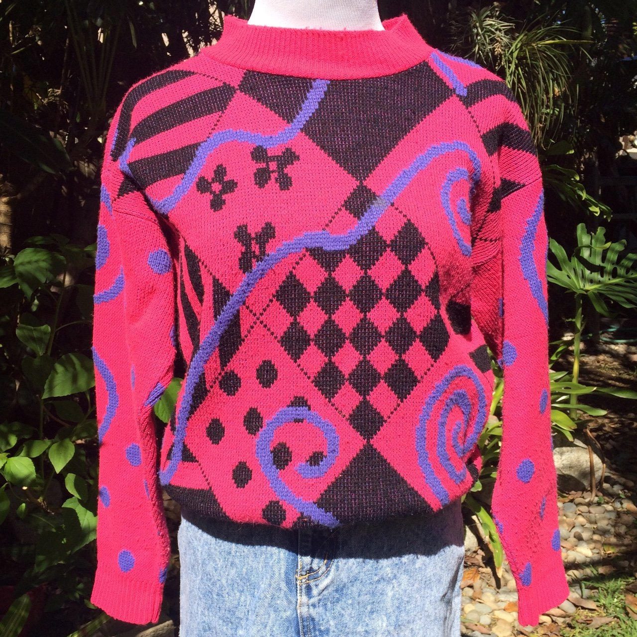 Pullover 001  💗💜🖤 Fun vintage 80s sweater would best xs - Depop ceb016498