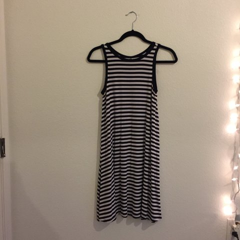 2ae0253e56c Old Navy black and white striped swing tank dress! Perfect a - Depop
