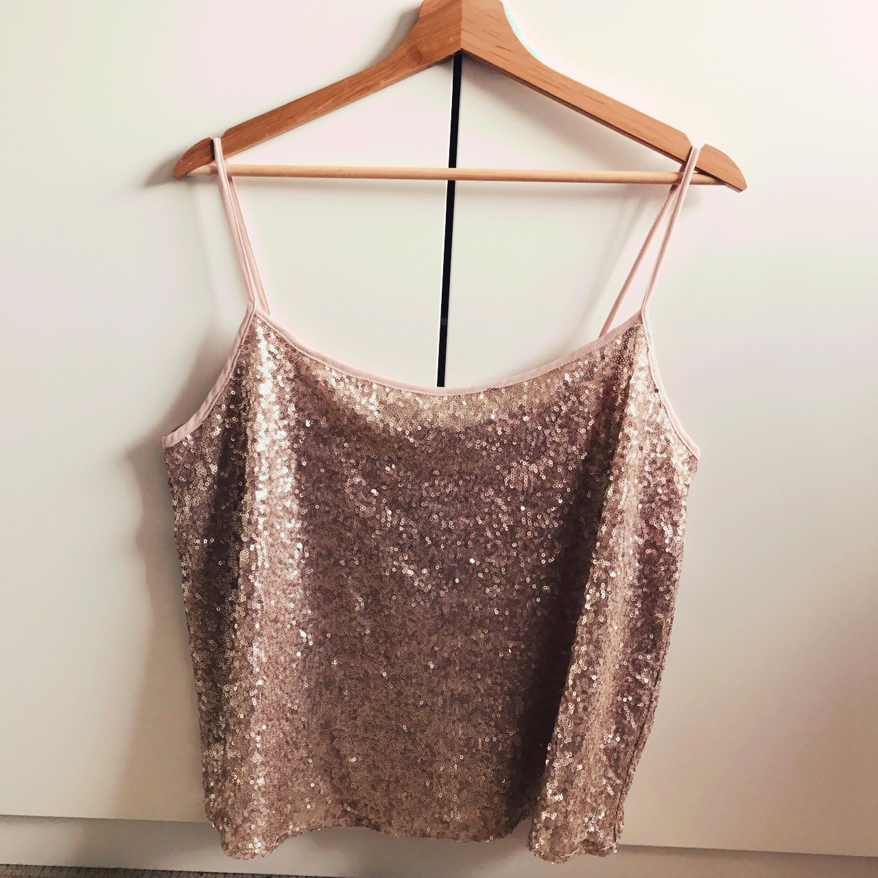 9f051e0c5c133 Rose gold sequin cami. Size 14. Made from a chiffon like in - Depop