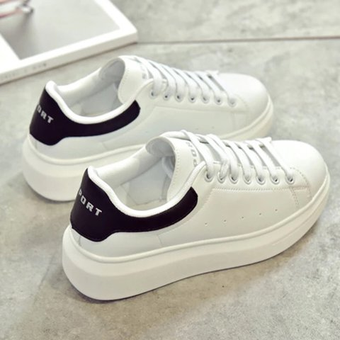 b34046551f0 🤔💕Brand new platform black and white tennis shoes . New is - Depop