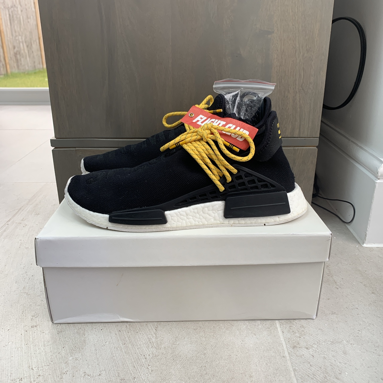 best loved 8473d e8ad4 Black, white and yellow PW human race NMD 100%... - Depop