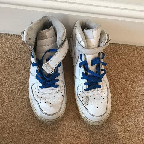 976c1e05b8e2a White Nike air force 1 (af1) men s high top shoes with blue - Depop