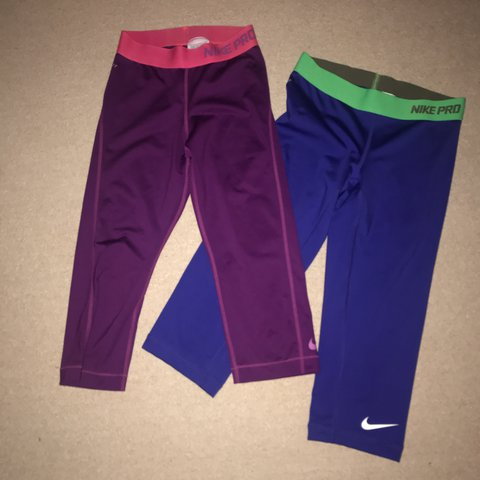 6614ff8a193ae2 @rb821. 2 years ago. Gourock, United Kingdom. Nike pro Capri leggings in  blue and purple 💕 Both size extra small