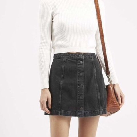 c1a06689fb4a @jesssparker. 3 years ago. United Kingdom. Topshop petite black denim  button up skirt ...