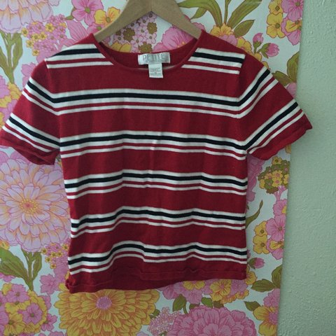 fa6dfaccdb Semi crop (comes right to pants line) red striped shirt. or - Depop