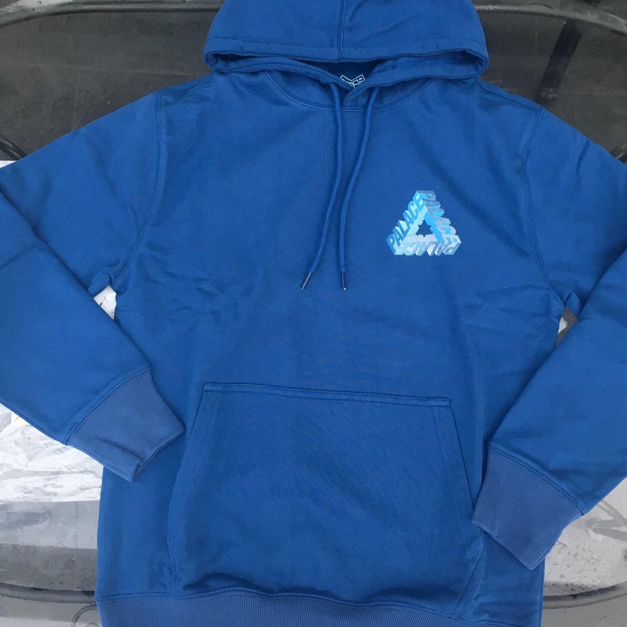 aaa508d8a6d8 Palace P-3D Hoodie. Size Small Dark Blue with Blue Silver on - Depop