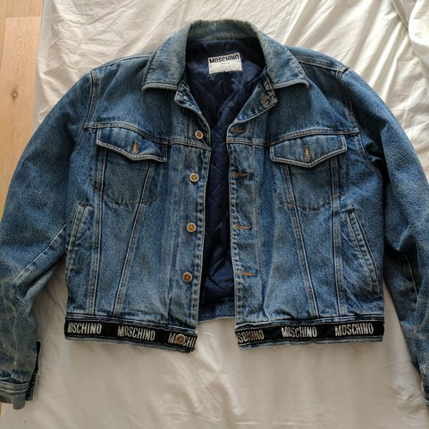 52068b9499 BUY VINTAGE RARE MOSCHINO JEANS DENIM JACKET IN PERFECT OPEN - Depop