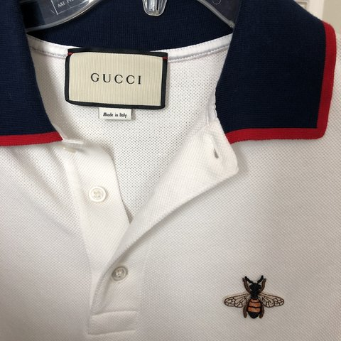 1eacb553f5b Gucci polo size large. Bee polo in white color way. In very - Depop