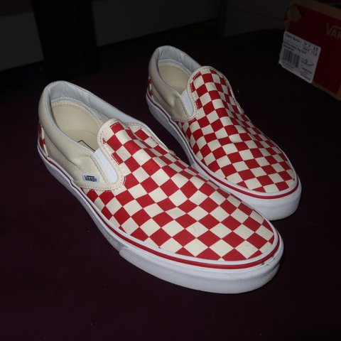 red white checkered slip on vans 6d4b3d038